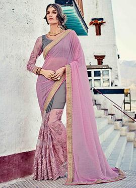 Lavender Pink N Grey Embroidered Half N Half Saree