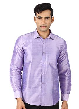 Lavender Pure Dupion Silk Shirt