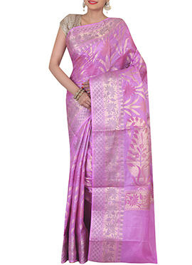 Lavender Pure Silk Saree