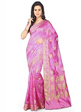 Lavender Pure Silk Saree