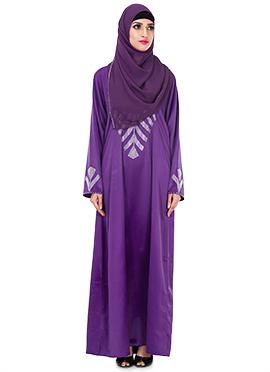 Lavender Satin Embellished Abaya
