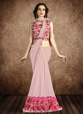 Lavender Shimmer Georgette Border Saree
