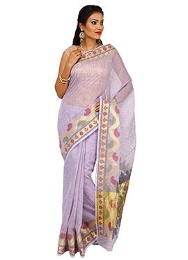 Lavender Tussar Silk Saree