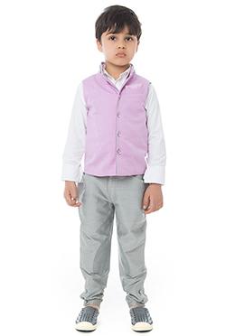 Lavender Velvet Bandhgala Suit By Kidology