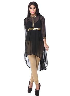 Lavennder Black High Low Kurti