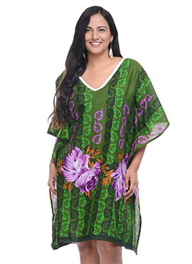 Lavennder Cotton Green Kaftan
