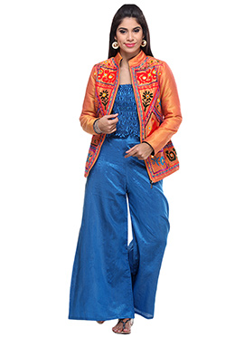 Lavennder Orange N Blue Silk Palazzo Set