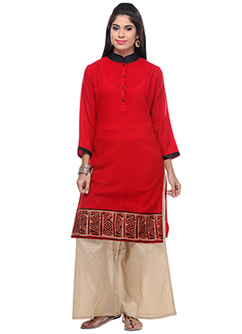 Lavennder Red Blended Wool Kurti