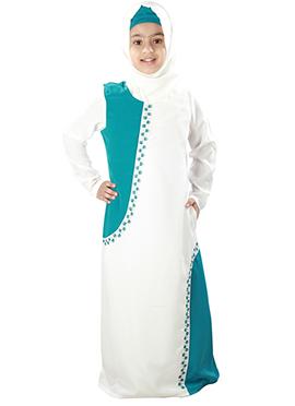 Leena White N Turquoise Kids Abaya