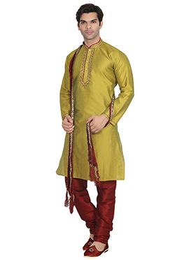 Lemon Green Art Dupion Silk Kurta Pyjama