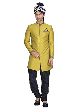 Lemon Green Breeches Style Sherwani