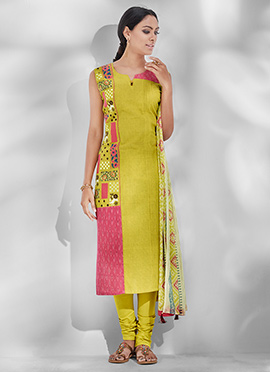 Lemon Yellow Cotton Churidar Suit