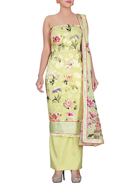 Lemon Yellow Georgette Dress Material