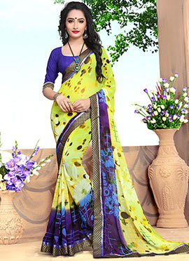 Lemon Yellow Georgette Saree