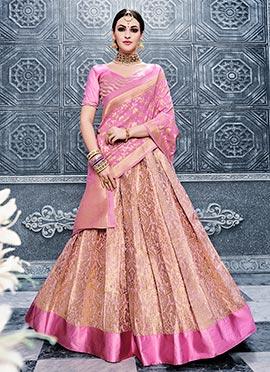 Ligh Pink Benarasi Silk Umbrella Lehenga