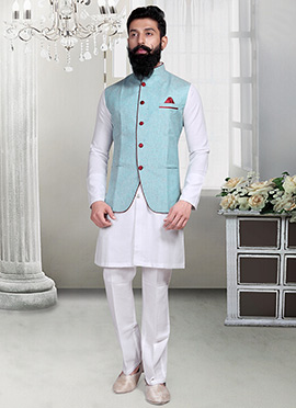 Light Aqua Blue Linen Nehru Jacket