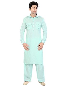Light Aqua Blue Linen Pathani Suits