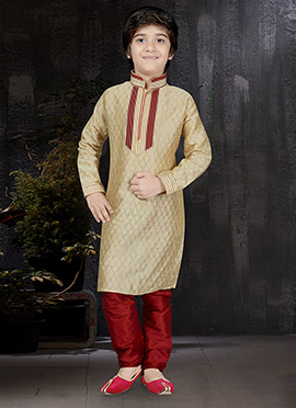Light Beige Art Benarasi Silk Kids Kurta Pyjama