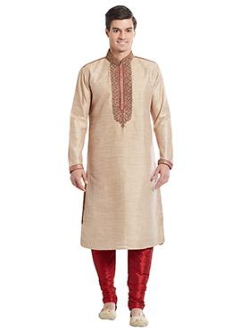 Light Beige Art Bhagalpuri Silk Kurta Pyjama