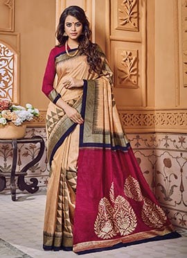 Light Beige Art Bhagalpuri Silk Saree