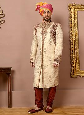Light Beige Benarasi Silk Chipkan Sherwani