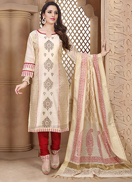 Light Beige Chanderi Art Silk Churidar Suit