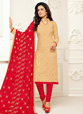 Light Beige cotton Churidar Suit