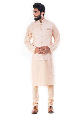 Light Beige Cotton Silk Bandi Set