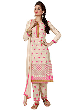Light Beige Embroidered Cotton Straight Pant Suit