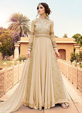Light Beige Georgette Anarkali Suit