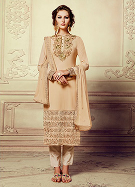 Light Beige Georgette Straight Pant Suit