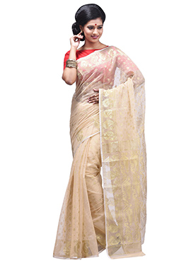 Light Beige Jamdani Muslin Silk Zari Weaved Saree