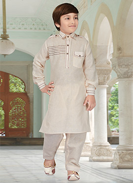 Light Beige Kids Art Silk Cotton Pathani Set