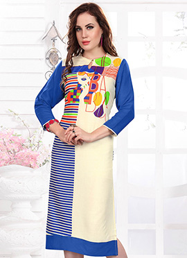 Light Beige N Blue Rayon Kurti