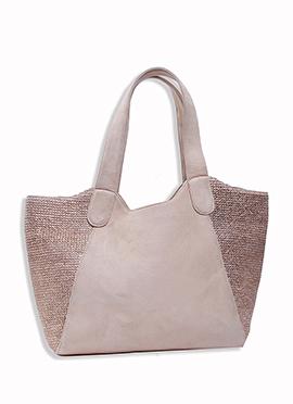 Light Beige N Brown Art Silk N Jute Tote Bag