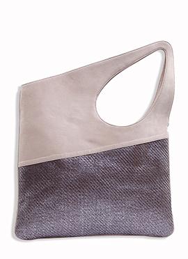 Light Beige N Dark Grey Silk N Jute Hand Bag