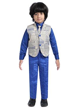 Light Beige N Deep Blue Silk Blend Kids Suit