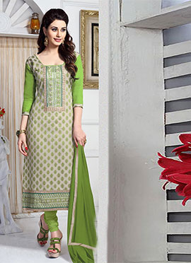 Light Beige N Green Cambric Cotton Straight Suit