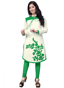 Off White N Green Cotton Kurti