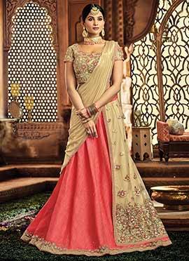 Light Beige N Pink Embroidered A Line Lehenga