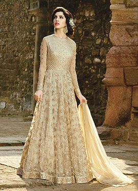 Light Beige Net Abaya Style Anarkali Suit