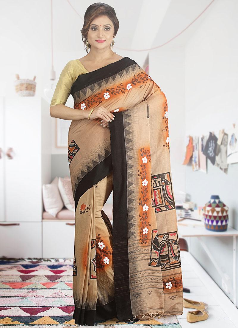 0dddb2bfaa Buy Light Beige Pure Cotton Saree, Printed, sari Online Shopping ...
