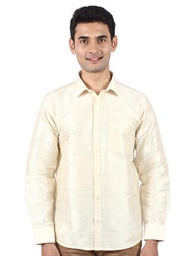 Light Beige Pure Dupion Silk Shirt