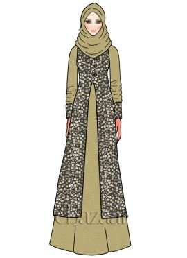 Light Beige Shimmer Georgette Abaya