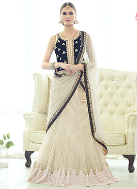 Light Beige Velvet Long Choli Lehenga