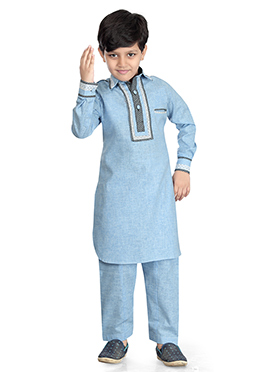 Light Blue Cotton Silk Kids Kurta Pyjama