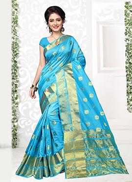 Light Blue Cotton Silk Saree