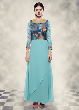 Light Blue Digital Printed Anarkali Gown