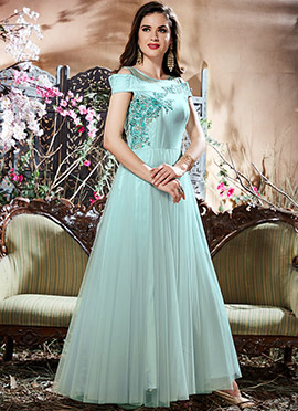 Light Blue Embroidered Anarkali Gown