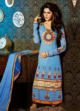 Light Blue Georgette Straight Pakistani Suit